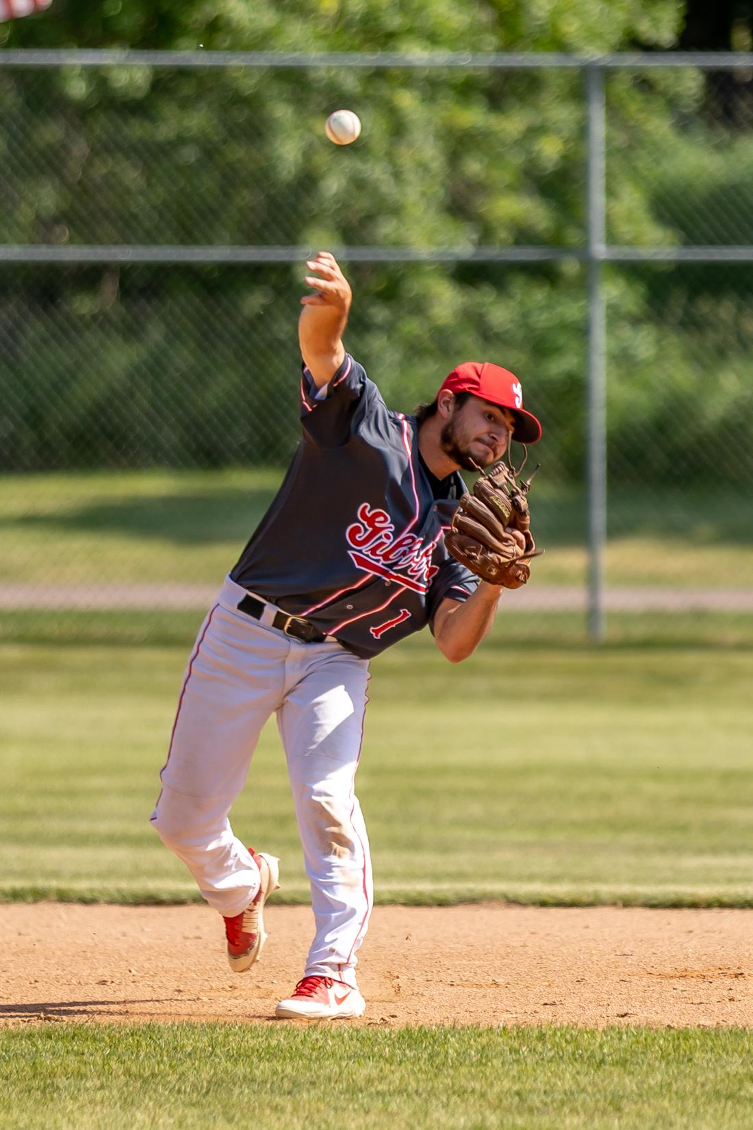 Second baseman Nolan Huiras fires the ball to first for an out.