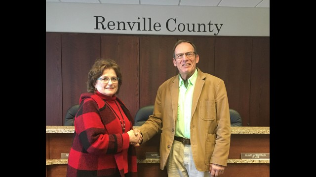 The Renville County HRA/EDA board recognized Blair Anderson for his 14 years of service. Pictured from left: Janette Wertish Renville County HRA/EDA Board Chair, and Blair Anderson. (Submitted photo)