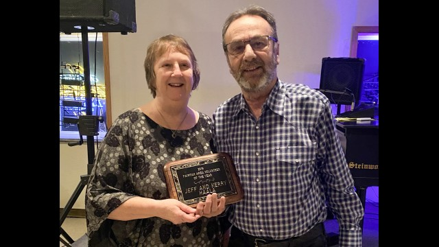 Kerry and Jeff Haala were named Fairfax's 2019 Volunteers of the Year at the C&C Banquet on Saturday evening.  (Staff photo by Denise Bonsack)