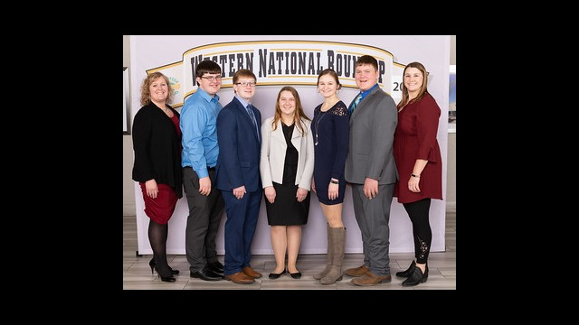 The Sibley County 2020 National Western Roundup team from from left: Julie Sievert, Caleb Scharpe, Connor Johnson, Jennifer Willegal, Cody Sievert and Marilee Peterson. (Submitted photo)
